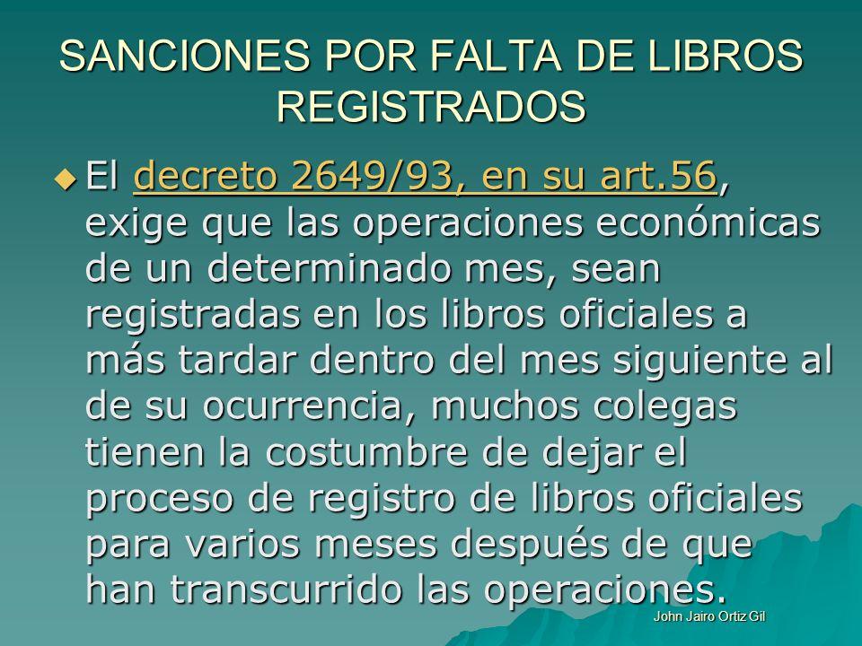 SANCIONES POR FALTA DE LIBROS REGISTRADOS El decreto 2649/93, en su art.56, exige que las operaciones económicas de un determinado mes, sean registrad