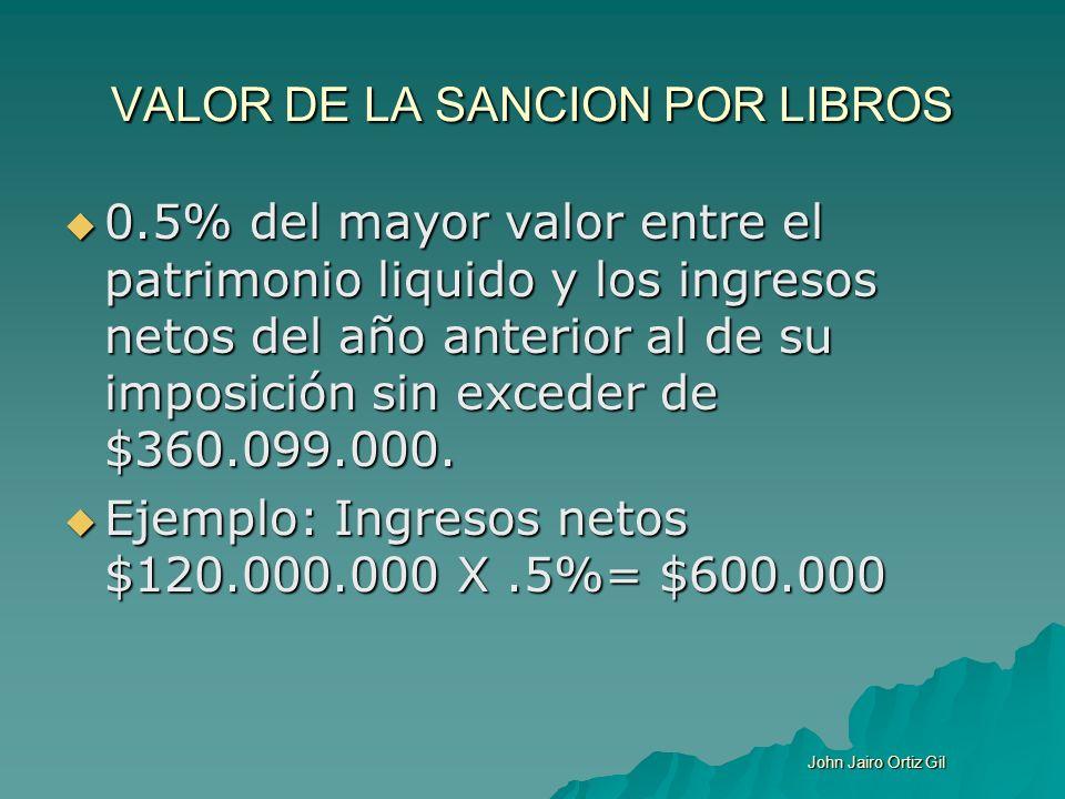 VALOR DE LA SANCION POR LIBROS 0.5% del mayor valor entre el patrimonio liquido y los ingresos netos del año anterior al de su imposición sin exceder