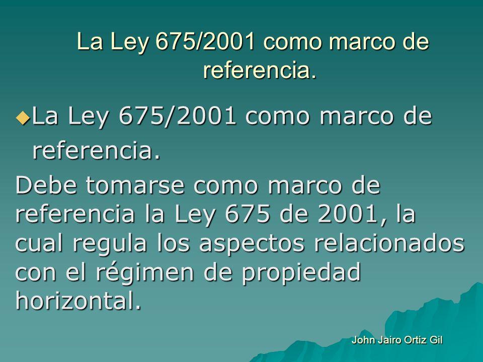 La Ley 675/2001 como marco de referencia. La Ley 675/2001 como marco de La Ley 675/2001 como marco de referencia. referencia. Debe tomarse como marco