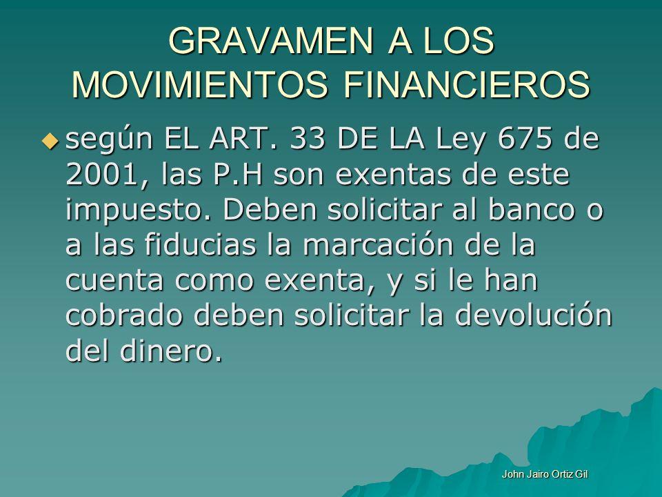 GRAVAMEN A LOS MOVIMIENTOS FINANCIEROS según EL ART. 33 DE LA Ley 675 de 2001, las P.H son exentas de este impuesto. Deben solicitar al banco o a las