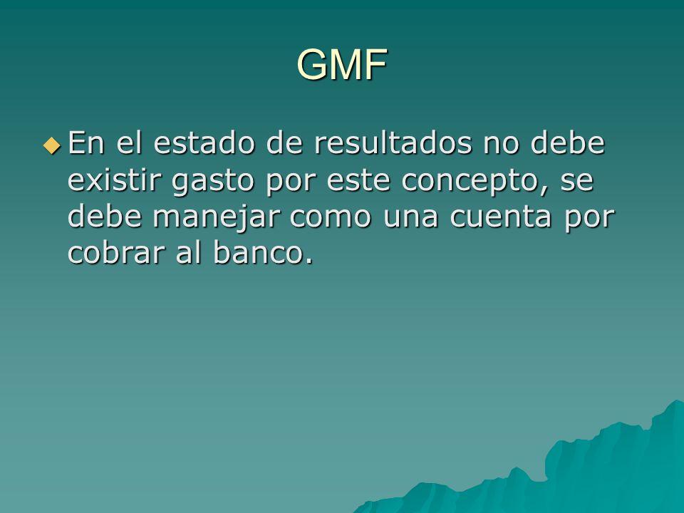 GMF En el estado de resultados no debe existir gasto por este concepto, se debe manejar como una cuenta por cobrar al banco. En el estado de resultado