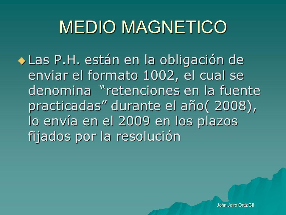 MEDIO MAGNETICO Las P.H. están en la obligación de enviar el formato 1002, el cual se denomina retenciones en la fuente practicadas durante el año( 20