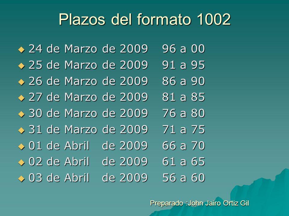 Plazos del formato 1002 24 de Marzo de 200996 a 00 24 de Marzo de 200996 a 00 25 de Marzo de 200991 a 95 25 de Marzo de 200991 a 95 26 de Marzo de 200
