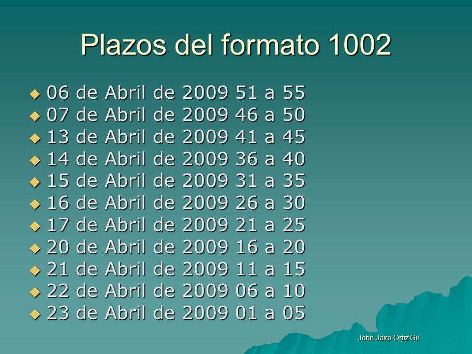 Plazos del formato 1002 06 de Abril de 2009 51 a 55 06 de Abril de 2009 51 a 55 07 de Abril de 2009 46 a 50 07 de Abril de 2009 46 a 50 13 de Abril de
