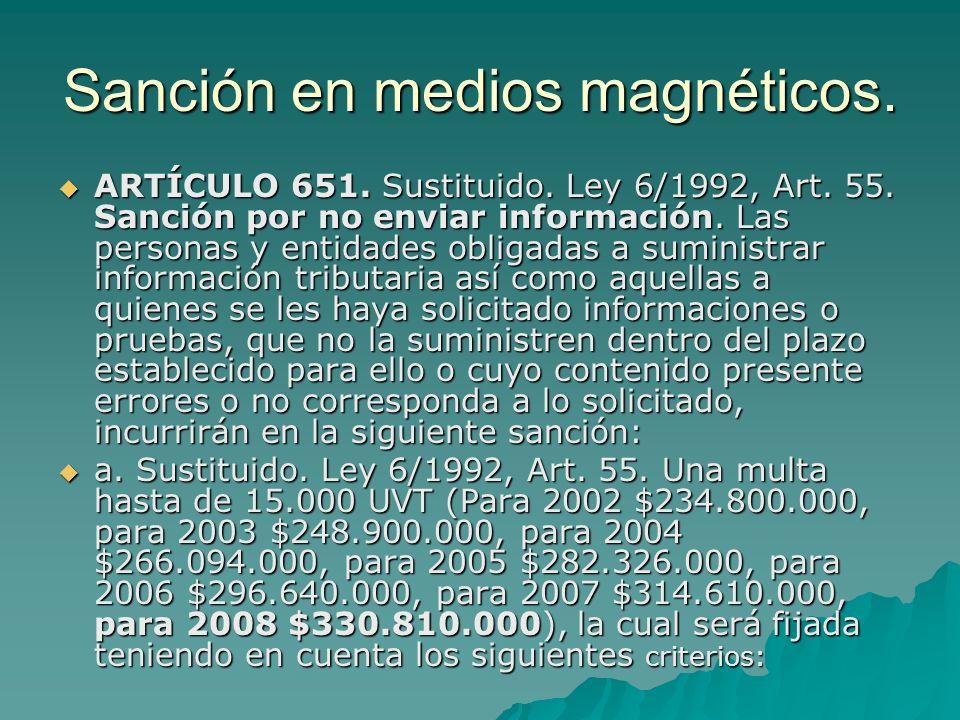 Sanción en medios magnéticos. ARTÍCULO 651. Sustituido. Ley 6/1992, Art. 55. Sanción por no enviar información. Las personas y entidades obligadas a s