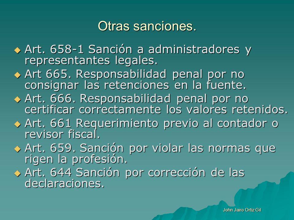 Otras sanciones. Art. 658-1 Sanción a administradores y representantes legales. Art. 658-1 Sanción a administradores y representantes legales. Art 665
