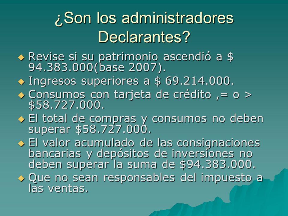¿Son los administradores Declarantes? Revise si su patrimonio ascendió a $ 94.383.000(base 2007). Revise si su patrimonio ascendió a $ 94.383.000(base