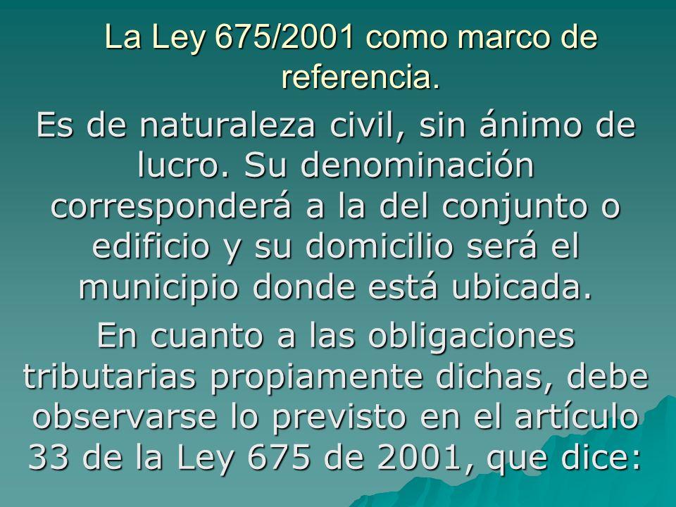 La Ley 675/2001 como marco de referencia. Es de naturaleza civil, sin ánimo de lucro. Su denominación corresponderá a la del conjunto o edificio y su