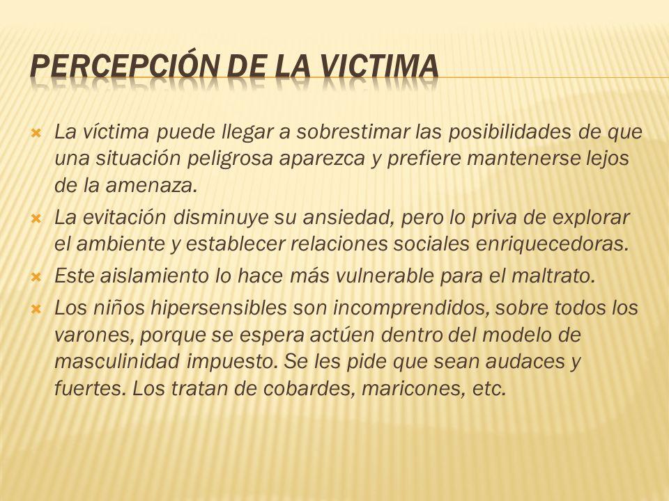 La víctima puede llegar a sobrestimar las posibilidades de que una situación peligrosa aparezca y prefiere mantenerse lejos de la amenaza. La evitació