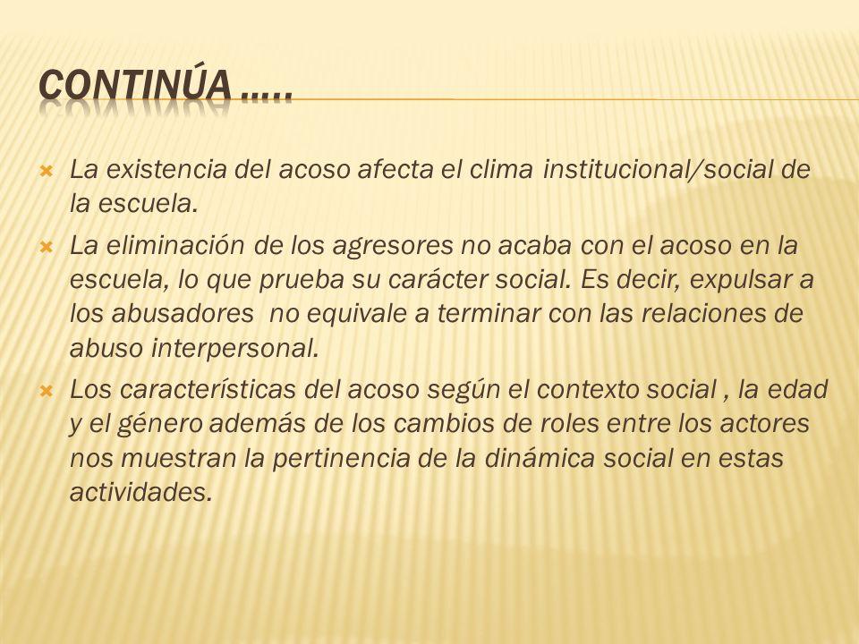 La existencia del acoso afecta el clima institucional/social de la escuela. La eliminación de los agresores no acaba con el acoso en la escuela, lo qu