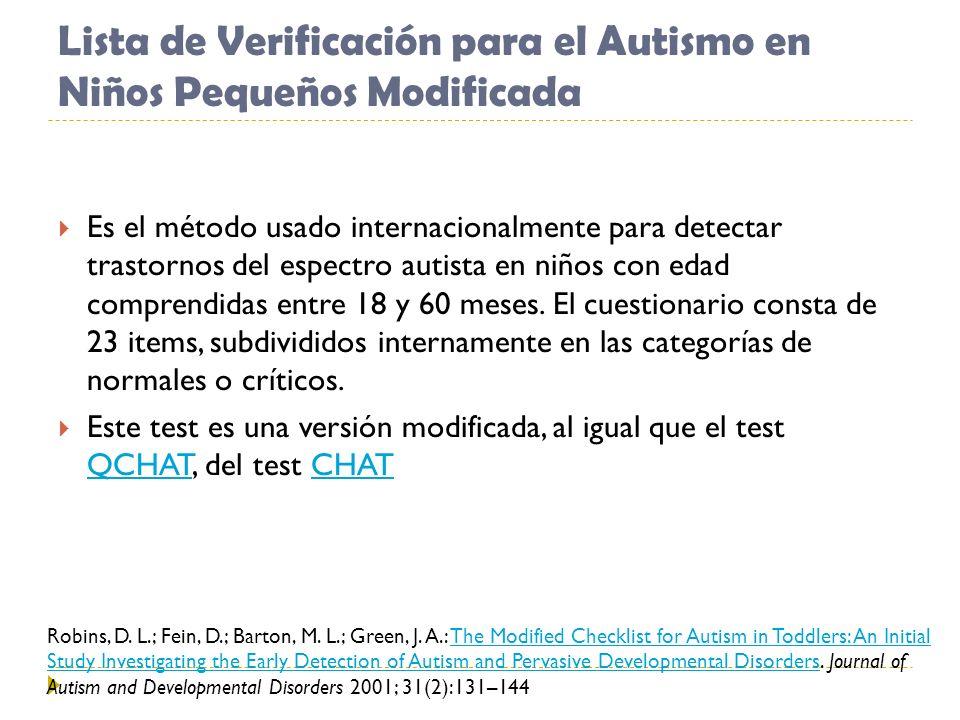 Lista de Verificación para el Autismo en Niños Pequeños Modificada Es el método usado internacionalmente para detectar trastornos del espectro autista