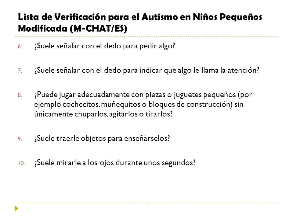 Lista de Verificación para el Autismo en Niños Pequeños Modificada (M-CHAT/ES) 6. ¿Suele señalar con el dedo para pedir algo? 7. ¿Suele señalar con el