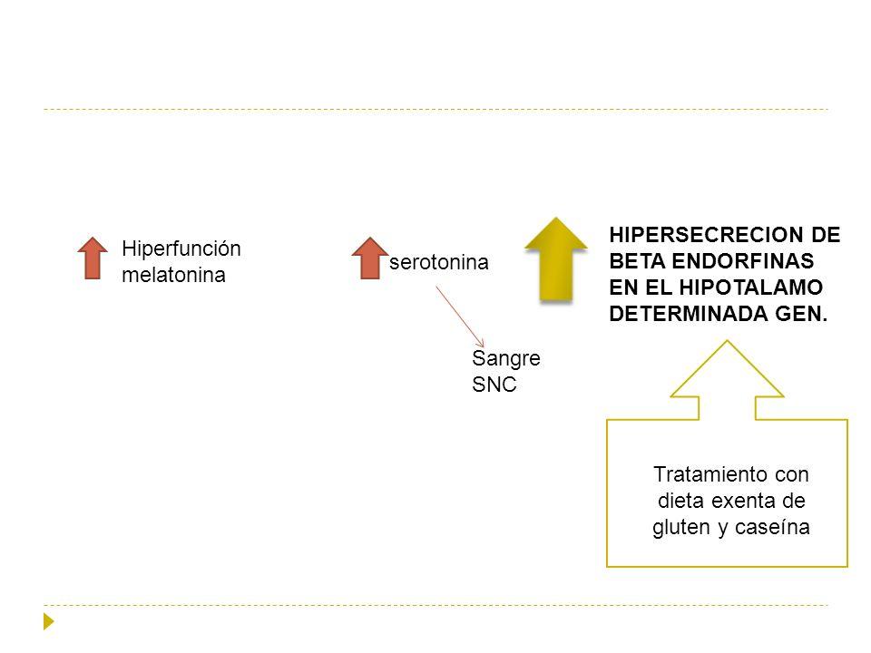 Hiperfunción melatonina serotonina Sangre SNC HIPERSECRECION DE BETA ENDORFINAS EN EL HIPOTALAMO DETERMINADA GEN. Tratamiento con dieta exenta de glut