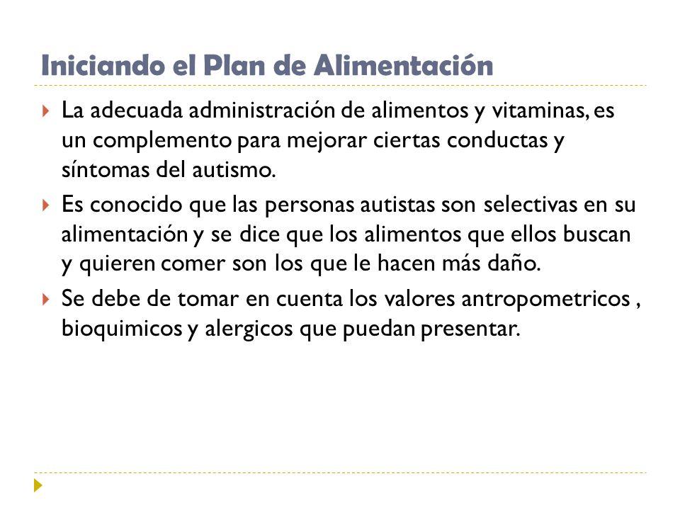 Iniciando el Plan de Alimentación La adecuada administración de alimentos y vitaminas, es un complemento para mejorar ciertas conductas y síntomas del