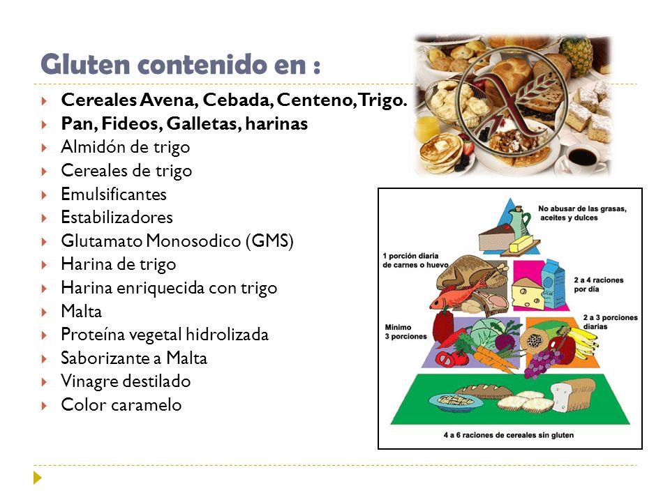 Gluten contenido en : Cereales Avena, Cebada, Centeno, Trigo. Pan, Fideos, Galletas, harinas Almidón de trigo Cereales de trigo Emulsificantes Estabil
