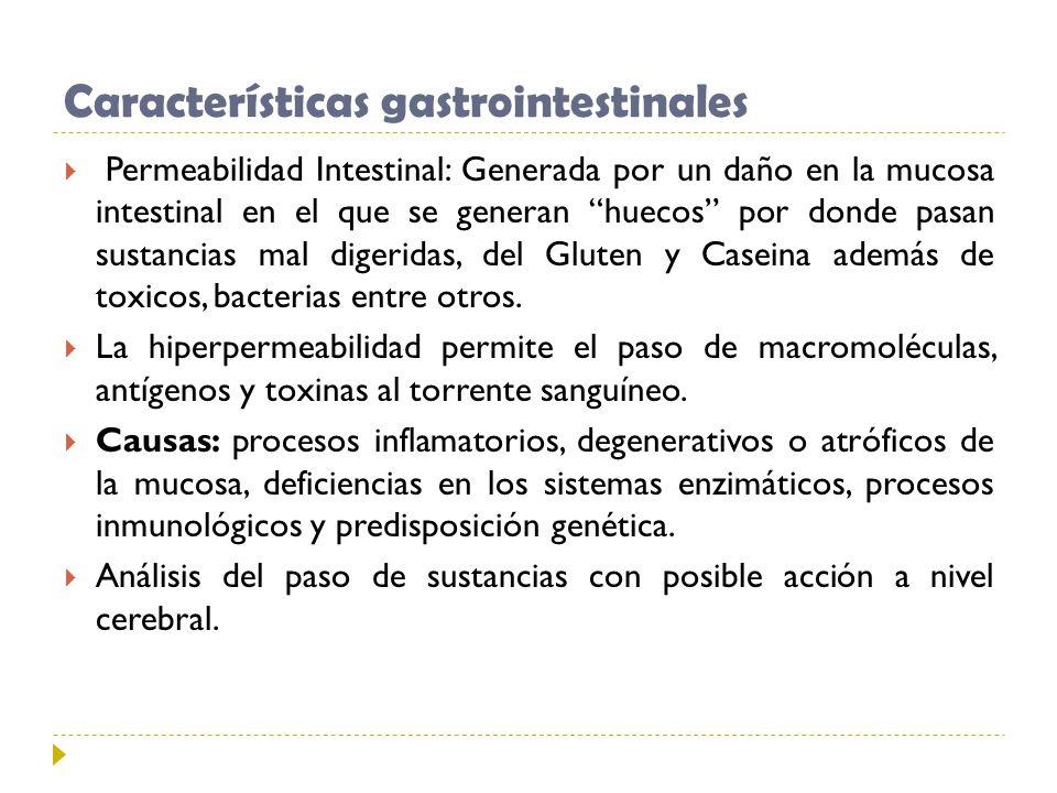 Características gastrointestinales Permeabilidad Intestinal: Generada por un daño en la mucosa intestinal en el que se generan huecos por donde pasan