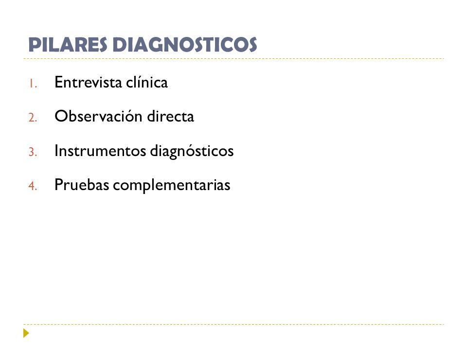 PILARES DIAGNOSTICOS 1. Entrevista clínica 2. Observación directa 3. Instrumentos diagnósticos 4. Pruebas complementarias