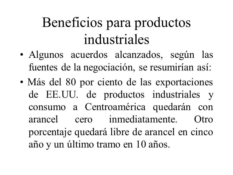 Beneficios para productos industriales Algunos acuerdos alcanzados, según las fuentes de la negociación, se resumirían así: Más del 80 por ciento de las exportaciones de EE.UU.