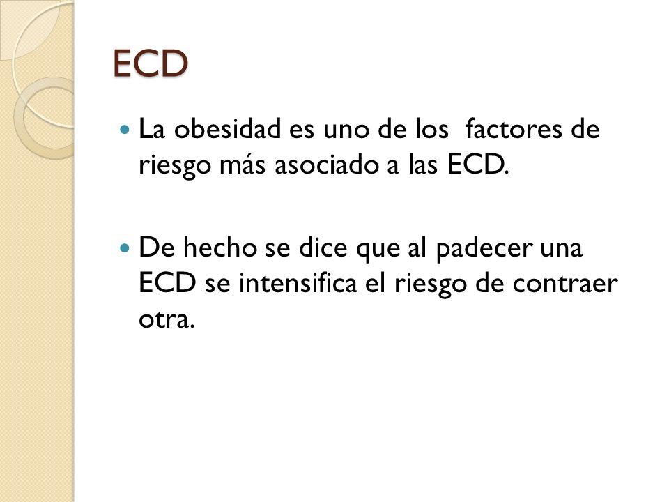 ECD; Epidemiología En México las ECD han cobrado mayor importancia en las tasas de morbimortalidad, destacando la prevalencia de hipertensión arterial, obesidad, hipercolesterolemia, y DM2.
