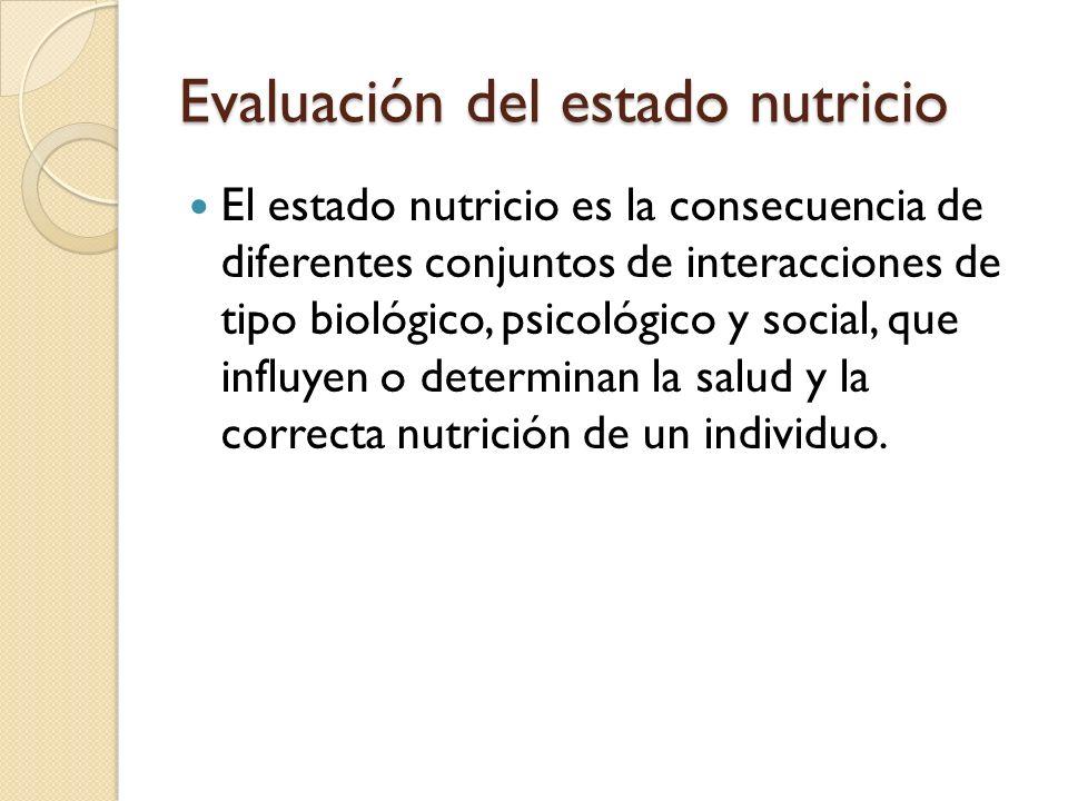 Evaluación del estado nutricio La evaluación del estado nutricio nos permite conocer el estado de salud y nutricional pasado o actual de un individuo o población.