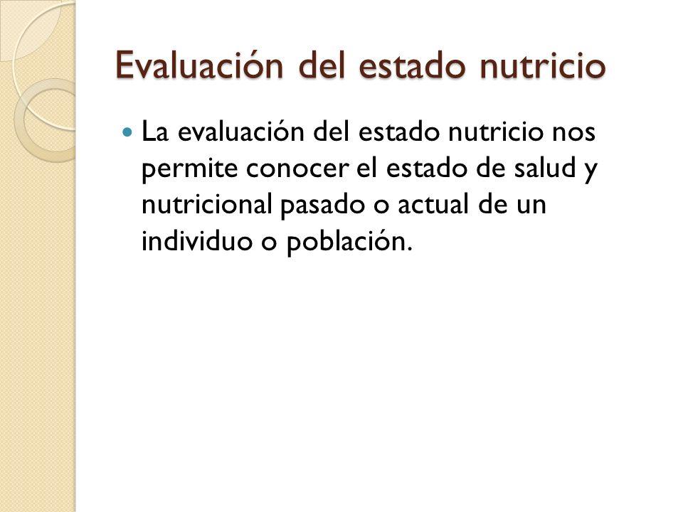 Evaluación del estado nutricio Es necesario mencionar que la evaluación del estado nutricio debe ser valorada por un profesional de la salud, o en los mejores de los casos, por un equipo multidisciplinario (Nutriólogo, médico, psicólogo).