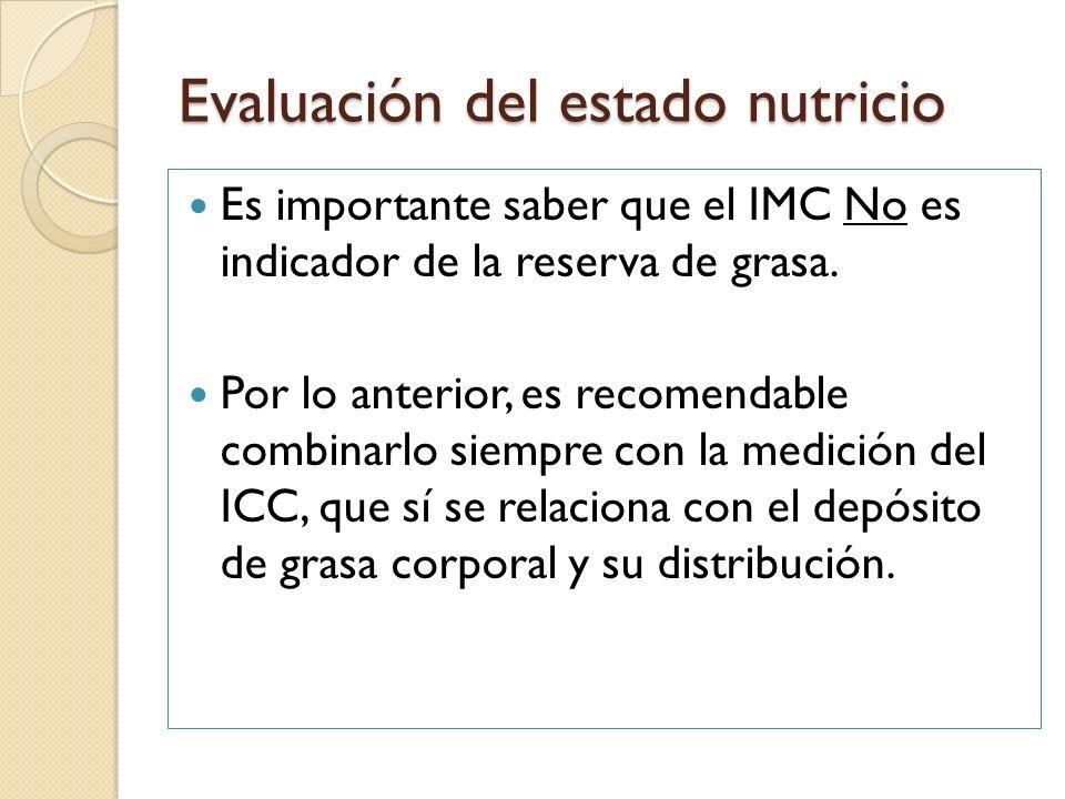 Evaluación del estado nutricio Los índices anteriores (IMC y ICC) son de suma importancia ya que nos ayudan a determinar el nivel de riesgo que un individuo puede presentar a padecer ECD como DM2,hipertensión arterial, etc..