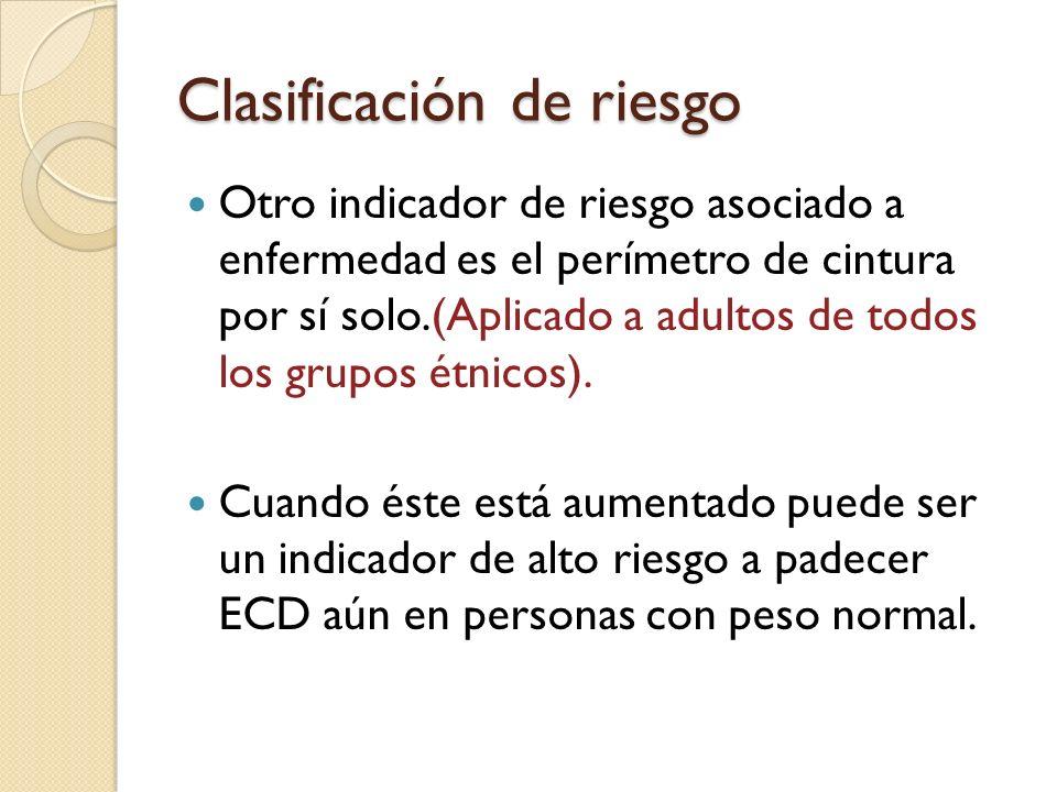 Clasificación de riesgo Riesgo de enfermedad en relación con el peso y el perímetro de cintura.