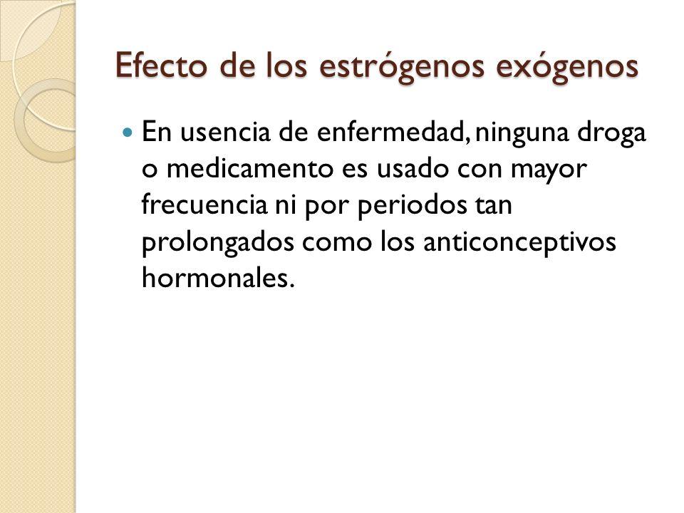Efecto de los estrógenos exógenos Se ha documentado que cerca del 10% de las mujeres que usan anticonceptivos hormonales desarrollan alteraciones en la tolerancia a la glucosa.