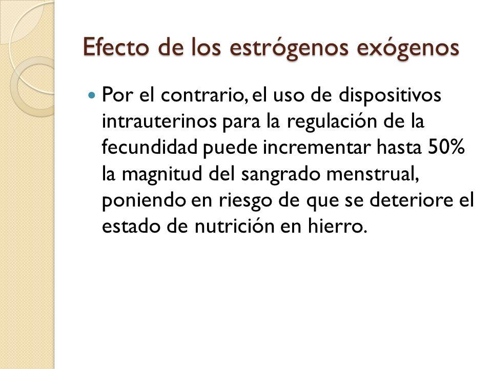 Efecto de los estrógenos exógenos Con frecuencia se prefiere recomendar éste método anticonceptivo (DIU) a mujeres que no acuden con regularidad a control médico (por ser más seguro en esos casos), sin embargo, desde el punto de vista nutricio no es muy adecuado por el riesgo que se presente anemia.