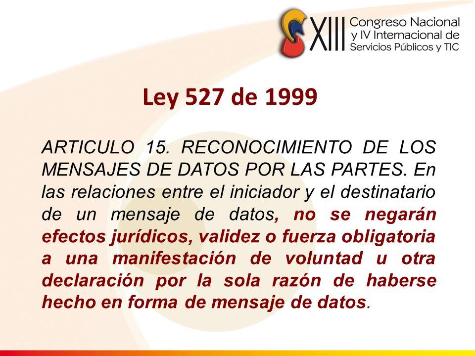 ARTICULO 15. RECONOCIMIENTO DE LOS MENSAJES DE DATOS POR LAS PARTES. En las relaciones entre el iniciador y el destinatario de un mensaje de datos, no
