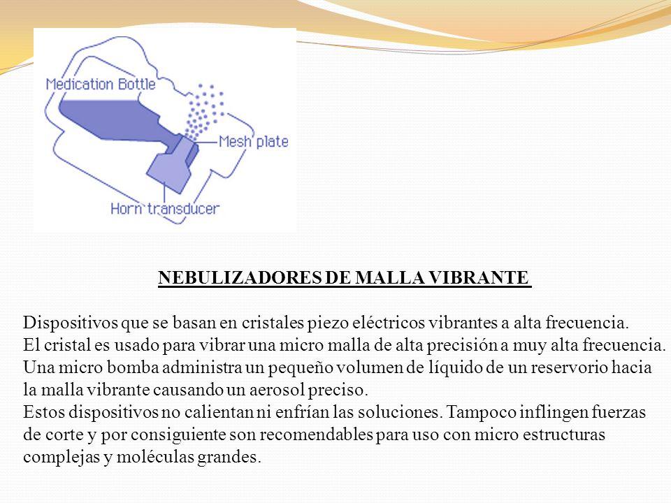 NEBULIZADORES DE MALLA VIBRANTE Dispositivos que se basan en cristales piezo eléctricos vibrantes a alta frecuencia. El cristal es usado para vibrar u