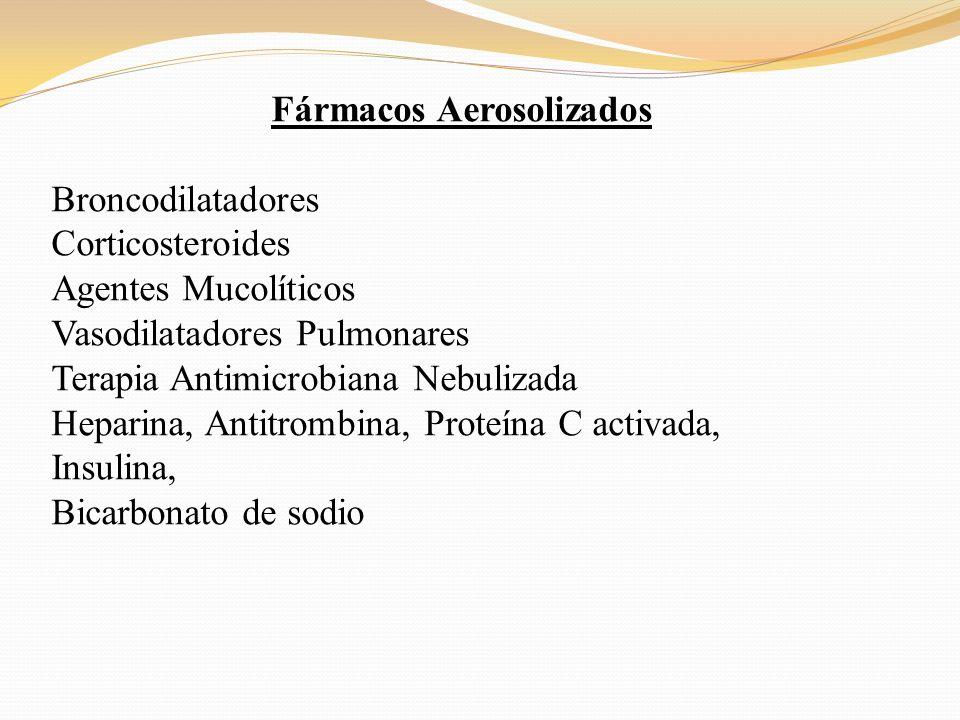 Fármacos Aerosolizados Broncodilatadores Corticosteroides Agentes Mucolíticos Vasodilatadores Pulmonares Terapia Antimicrobiana Nebulizada Heparina, A