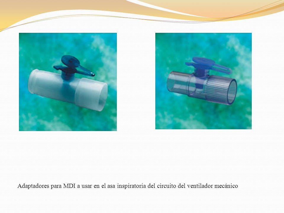 Adaptadores para MDI a usar en el asa inspiratoria del circuito del ventilador mecánico
