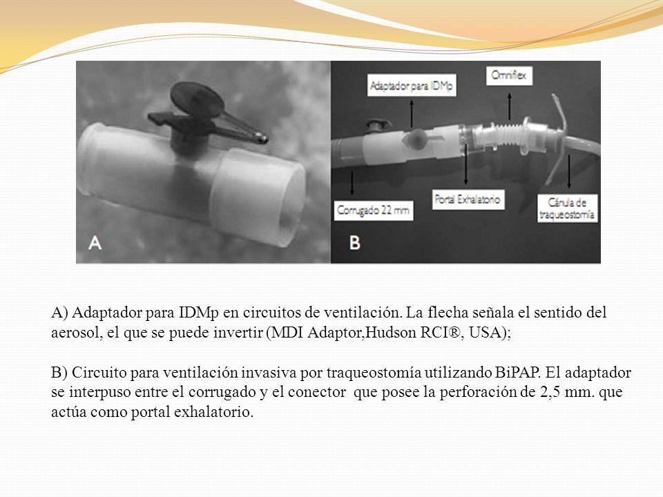 A) Adaptador para IDMp en circuitos de ventilación. La flecha señala el sentido del aerosol, el que se puede invertir (MDI Adaptor,Hudson RCI®, USA);