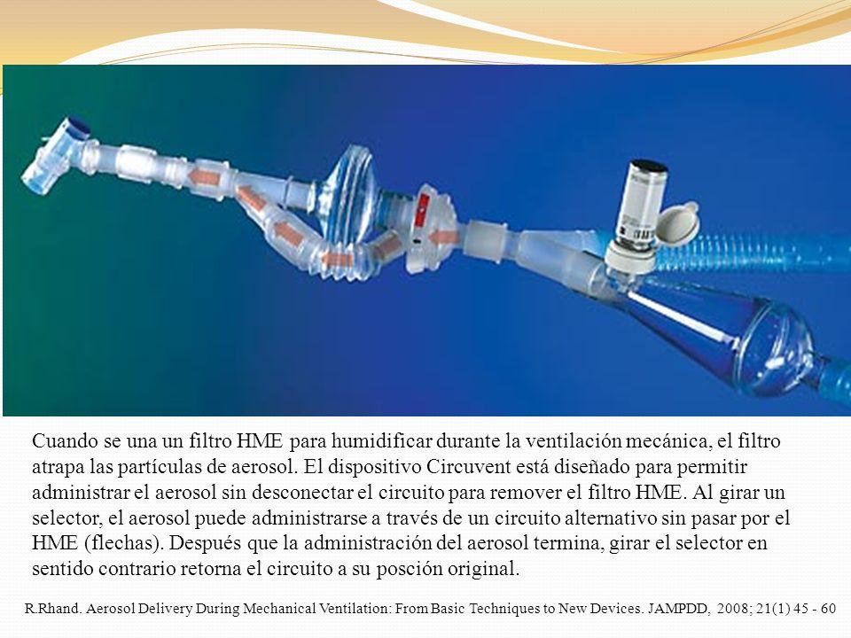 Cuando se una un filtro HME para humidificar durante la ventilación mecánica, el filtro atrapa las partículas de aerosol. El dispositivo Circuvent est