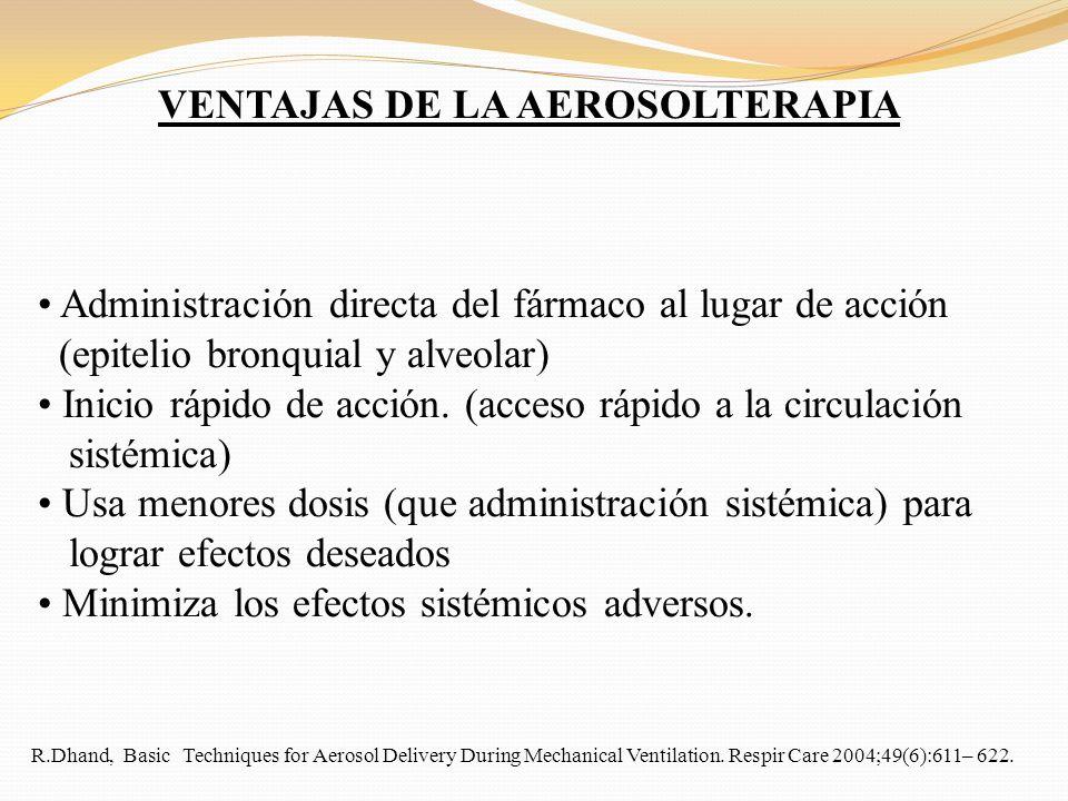 VENTAJAS DE LA AEROSOLTERAPIA Administración directa del fármaco al lugar de acción (epitelio bronquial y alveolar) Inicio rápido de acción. (acceso r