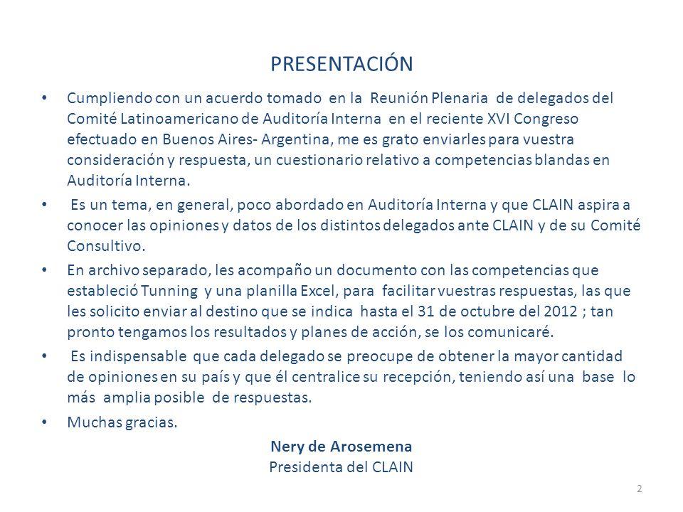 PRESENTACIÓN Cumpliendo con un acuerdo tomado en la Reunión Plenaria de delegados del Comité Latinoamericano de Auditoría Interna en el reciente XVI C