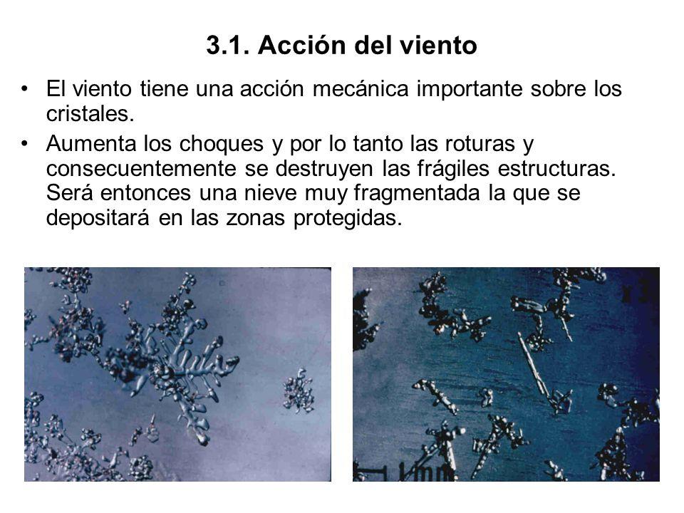 3.1. Acción del viento El viento tiene una acción mecánica importante sobre los cristales. Aumenta los choques y por lo tanto las roturas y consecuent