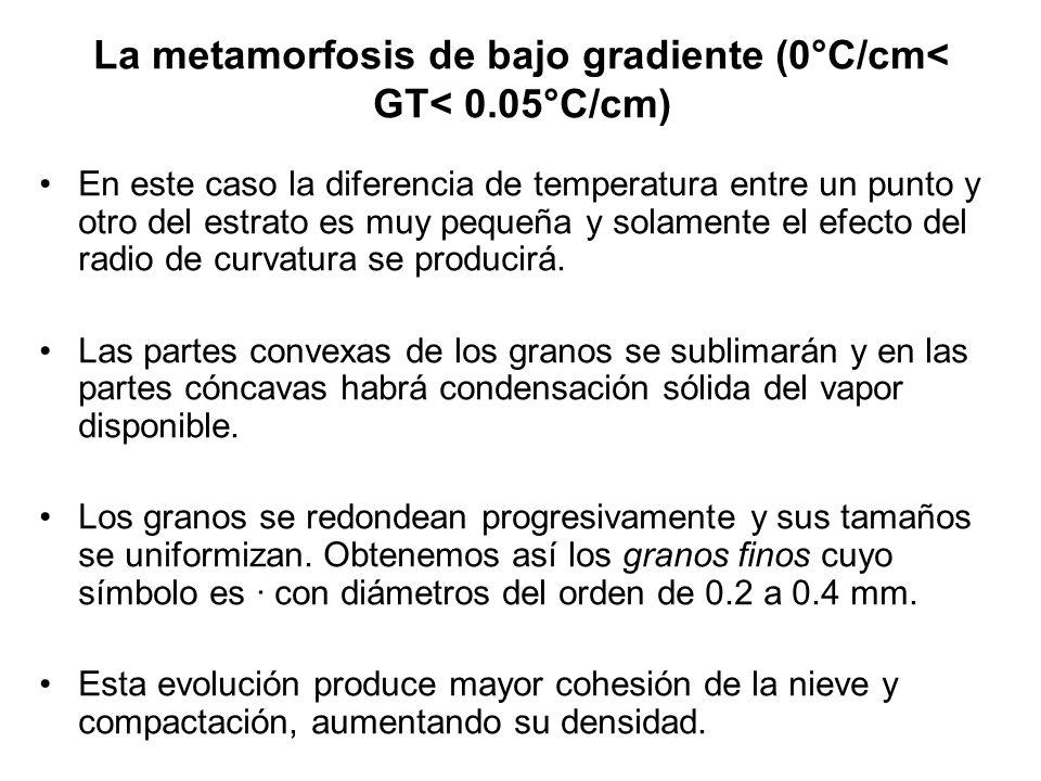 La metamorfosis de bajo gradiente (0°C/cm< GT< 0.05°C/cm) En este caso la diferencia de temperatura entre un punto y otro del estrato es muy pequeña y