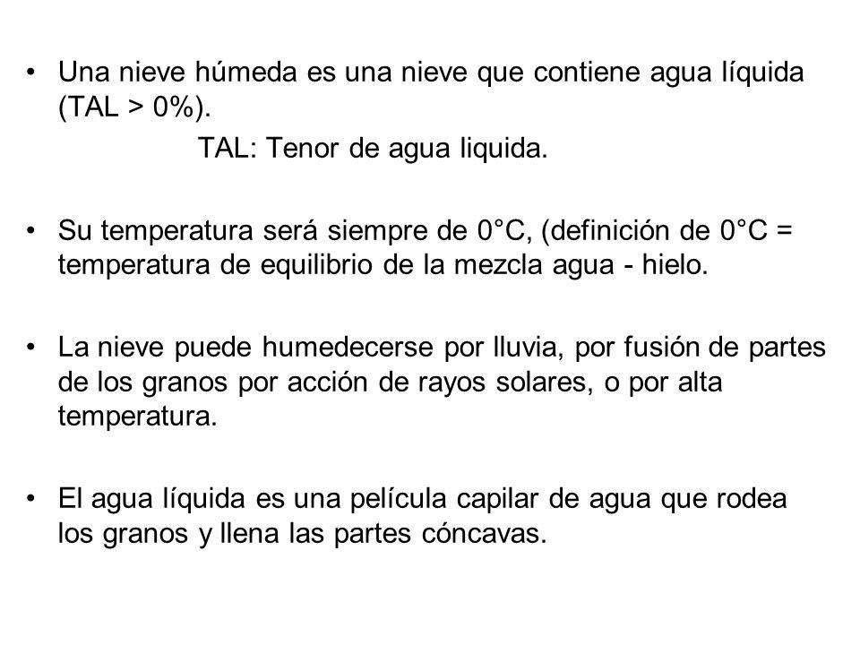 Una nieve húmeda es una nieve que contiene agua líquida (TAL > 0%). TAL: Tenor de agua liquida. Su temperatura será siempre de 0°C, (definición de 0°C