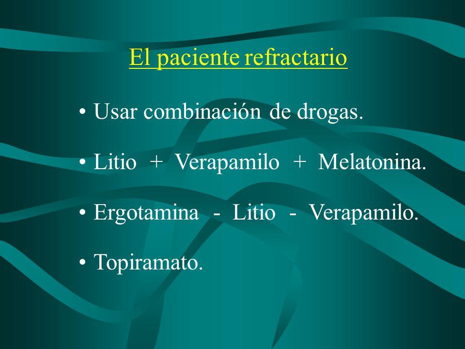 El paciente refractario Usar combinación de drogas. Litio + Verapamilo + Melatonina. Ergotamina - Litio - Verapamilo. Topiramato.