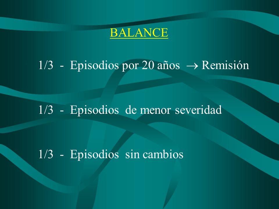 BALANCE 1/3 - Episodios por 20 años Remisión 1/3 - Episodios de menor severidad 1/3 - Episodios sin cambios