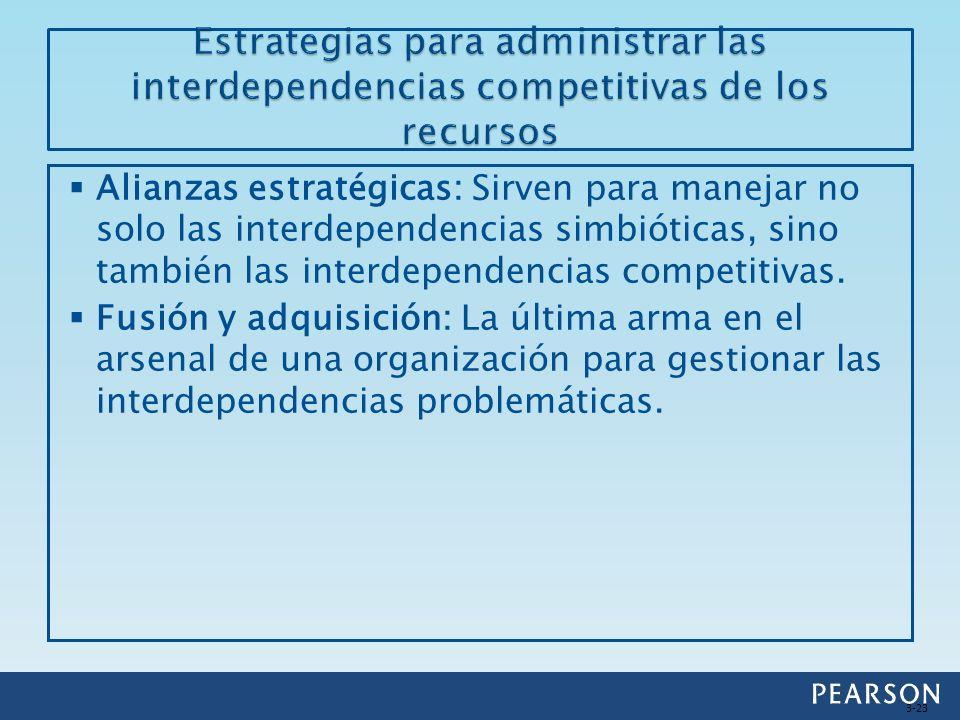 Alianzas estratégicas: Sirven para manejar no solo las interdependencias simbióticas, sino también las interdependencias competitivas. Fusión y adquis