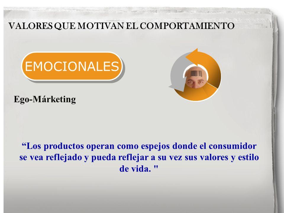 EMOCIONALES VALORES QUE MOTIVAN EL COMPORTAMIENTO Los productos operan como espejos donde el consumidor se vea reflejado y pueda reflejar a su vez sus valores y estilo de vida.