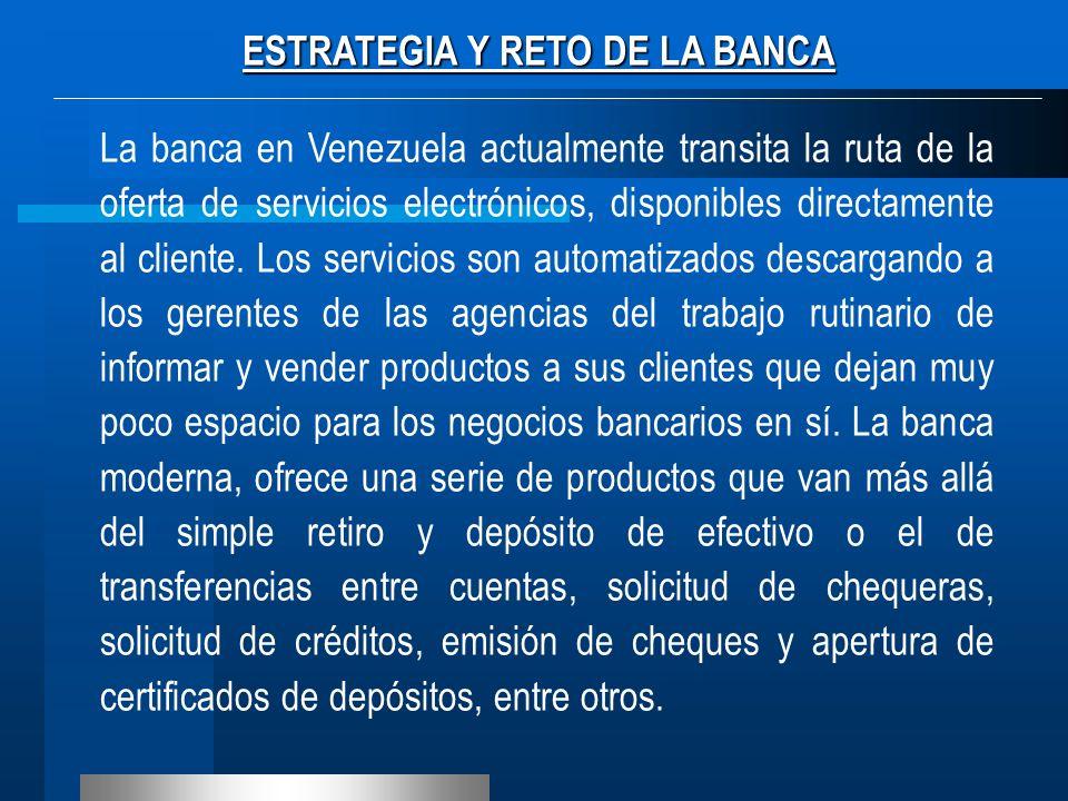 La banca en Venezuela actualmente transita la ruta de la oferta de servicios electrónicos, disponibles directamente al cliente. Los servicios son auto