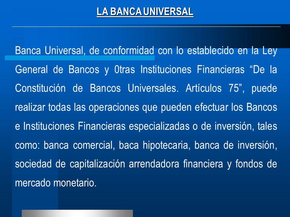 LA BANCA UNIVERSAL Banca Universal, de conformidad con lo establecido en la Ley General de Bancos y 0tras Instituciones Financieras De la Constitución