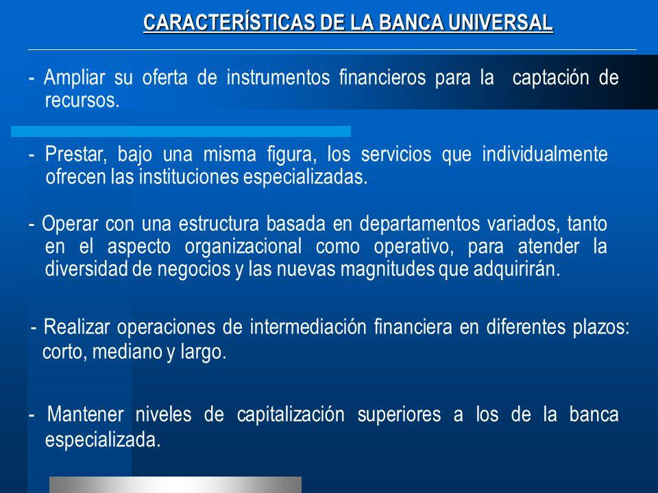CARACTERÍSTICAS DE LA BANCA UNIVERSAL - Ampliar su oferta de instrumentos financieros para la captación de recursos. - Prestar, bajo una misma figura,