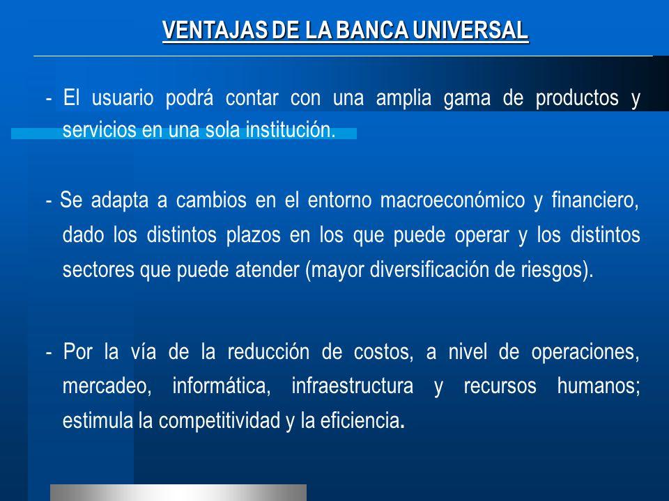 VENTAJAS DE LA BANCA UNIVERSAL - El usuario podrá contar con una amplia gama de productos y servicios en una sola institución. - Se adapta a cambios e