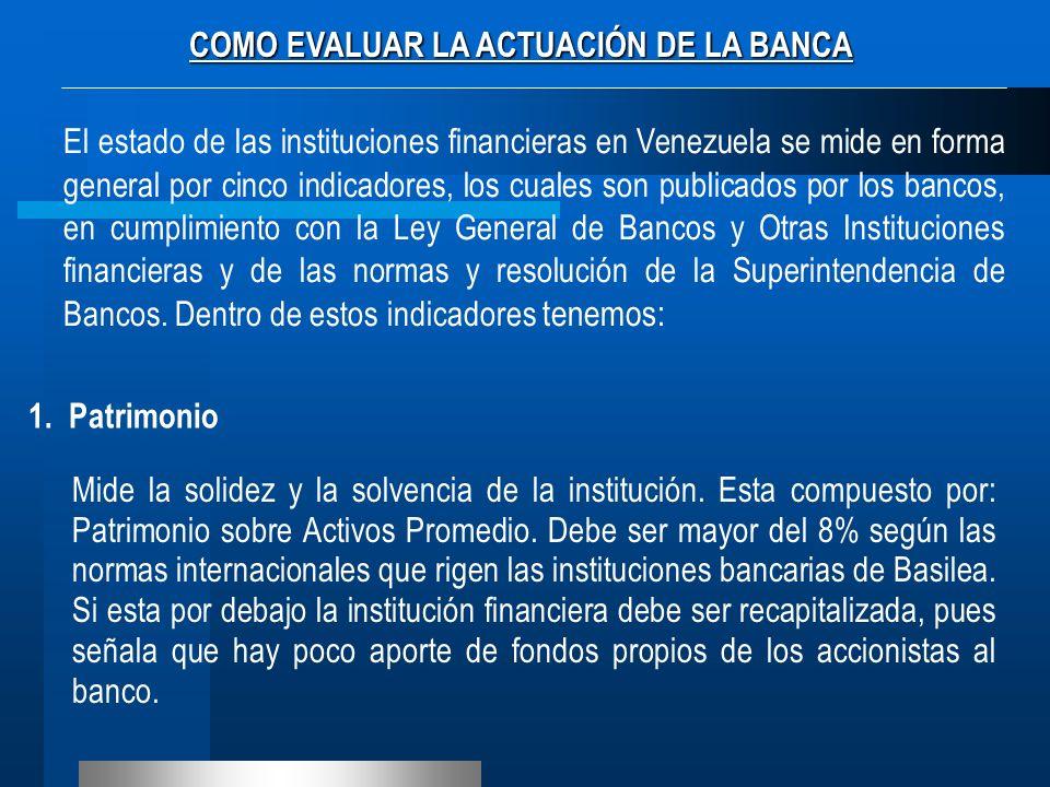 COMO EVALUAR LA ACTUACIÓN DE LA BANCA El estado de las instituciones financieras en Venezuela se mide en forma general por cinco indicadores, los cual