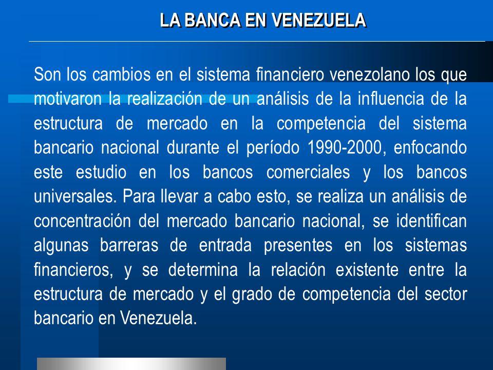 Son los cambios en el sistema financiero venezolano los que motivaron la realización de un análisis de la influencia de la estructura de mercado en la